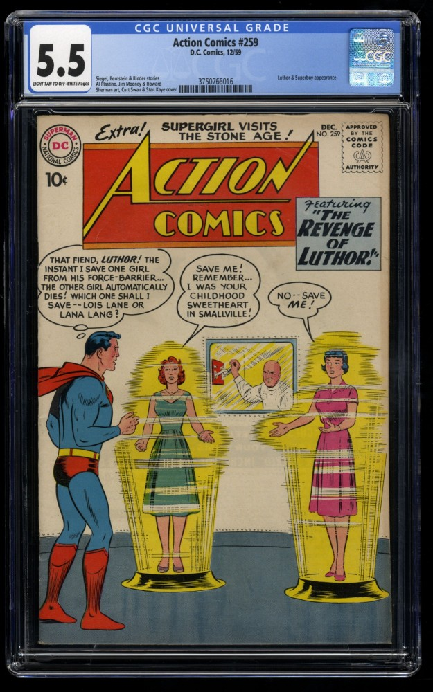 Action Comics #259 CGC FN- 5.5 Light Tan to Off White Lex Luthor!  Superboy!