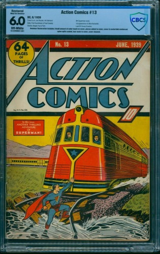 Item: Action Comics #13 CBCS FN 6.0 Off White (Restored) DC Superman