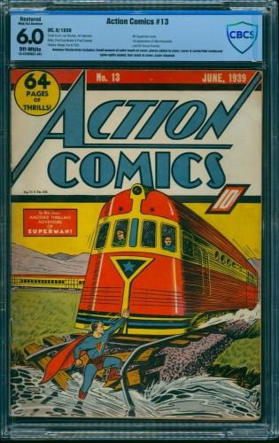Item: Action Comics #13 CBCS FN 6.0 Off White (Restored) DC Superman