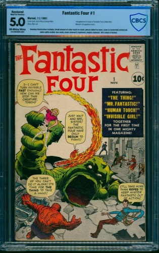 Item: Fantastic Four #1 CBCS VG/FN 5.0 Off White to White (Restored) Marvel Comics