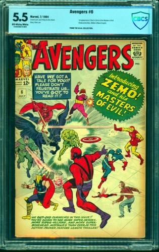 Item: Avengers #6 CBCS FN- 5.5 Off White to White Marvel Comics Thor Captain America