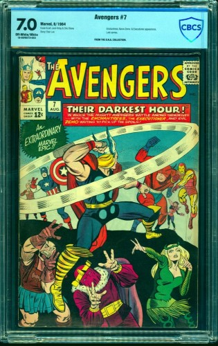 Item: Avengers #7 CBCS FN/VF 7.0 Off White to White Marvel Comics Thor Captain America