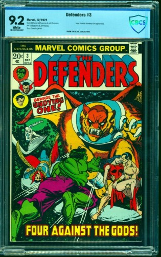Item: Defenders #3 CBCS NM- 9.2 White Pages Marvel Comics