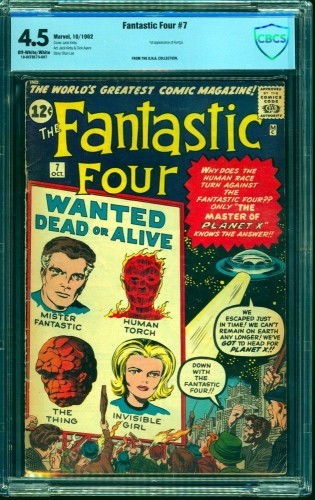Item: Fantastic Four #7 CBCS VG+ 4.5 Off White to White Marvel Comics