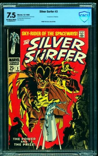 Item: Silver Surfer #3 CBCS VF- 7.5 Off White to White Marvel Comics