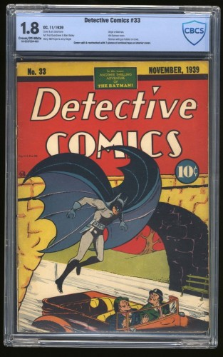 Item: Detective Comics #33 CBCS GD- 1.8 Cream To Off White Batman DC