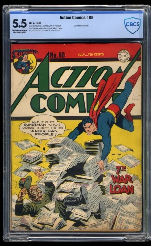 Item: Action Comics #86 CBCS FN- 5.5 Off White to White