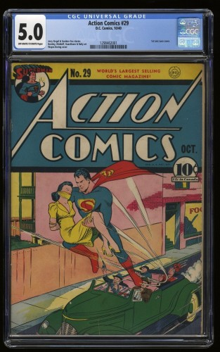 Item: Action Comics #29 CGC VG/FN 5.0 Off White to White