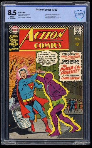 Item: Action Comics #340 CBCS VF+ 8.5 White 1st appearance of Parasite!
