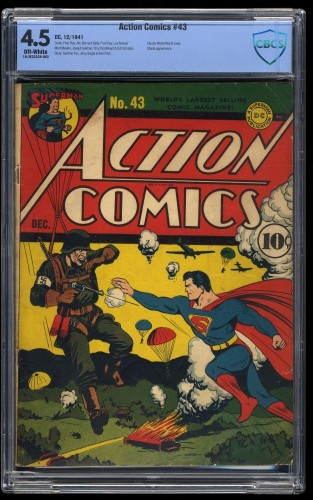 Item: Action Comics #43 CBCS VG+ 4.5 Off White