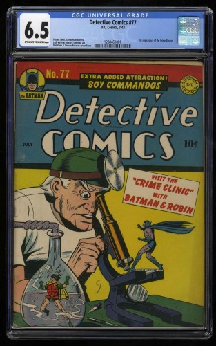 Item: Detective Comics #77 CGC FN+ 6.5 Off White to White