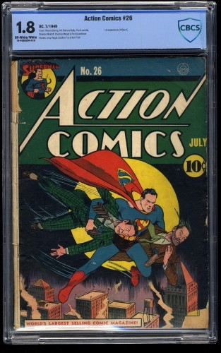 Item: Action Comics #26 CBCS GD- 1.8 Off White to White