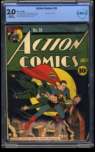 Item: Action Comics #26 CBCS GD 2.0 Brittle