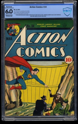 Item: Action Comics #34 CBCS FN 6.0 Slightly Brittle (Restored)