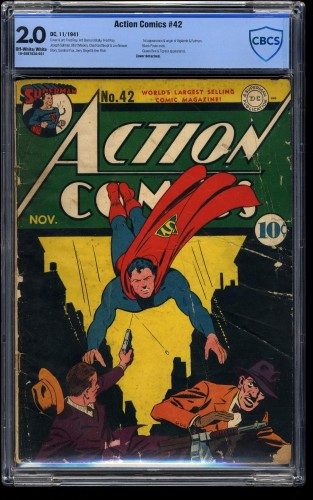 Item: Action Comics #42 CBCS GD 2.0 Off White to White