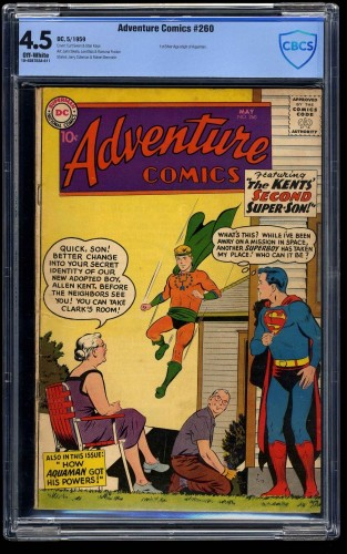 Item: Adventure Comics #260 CBCS VG+ 4.5 1st Silver Age Aquaman!!