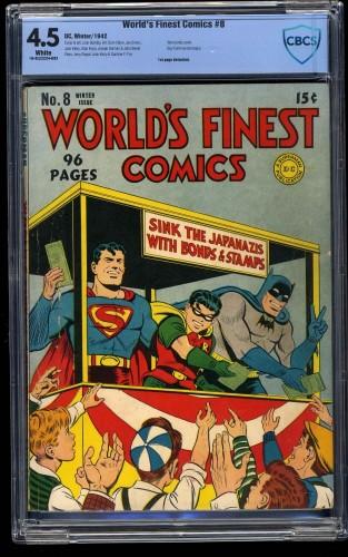 Item: World's Finest Comics #8 CBCS VG+ 4.5 White Pages