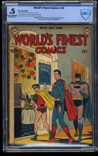 Item: World's Finest Comics #40 CBCS P 0.5 Cream To Off White