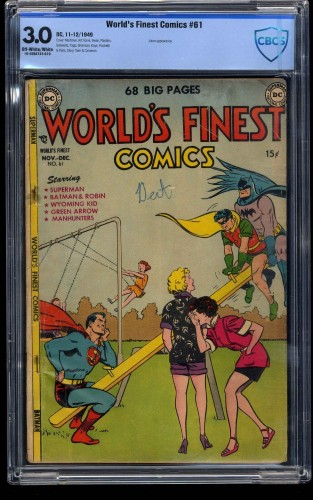 Item: World's Finest Comics #61 CBCS GD/VG 3.0 Off White to White