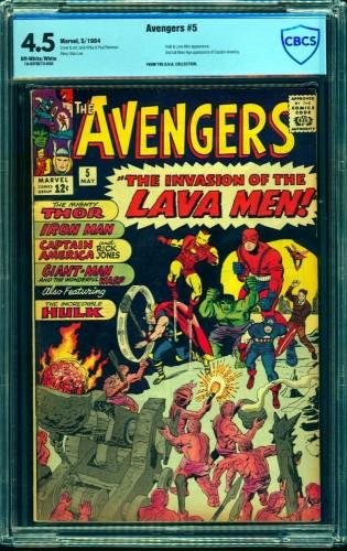 Avengers #5 CBCS VG+ 4.5 Off White to White Marvel Comics Thor Captain America