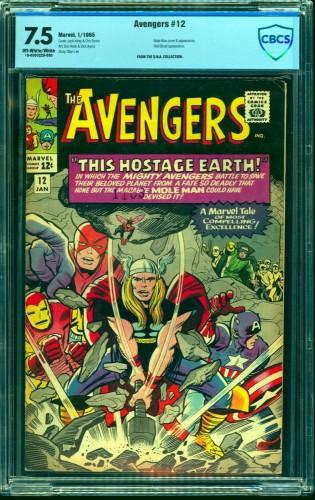 Avengers #12 CBCS VF- 7.5 Off White to White Marvel Comics Thor Captain America