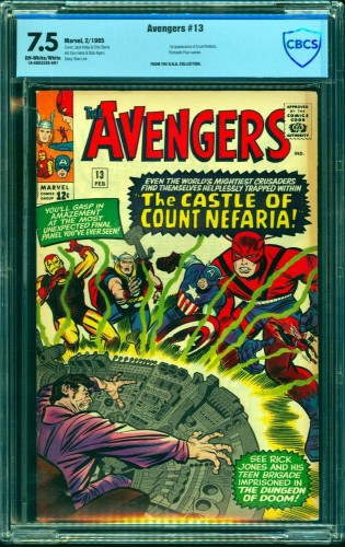 Avengers #13 CBCS VF- 7.5 Off White to White Marvel Comics Thor Captain America
