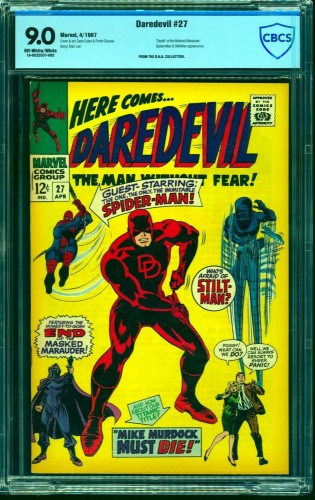 Daredevil #27 CBCS VF/NM 9.0 Off White to White Spider-Man! Marvel Comics