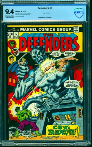 Defenders #5 CBCS NM 9.4 Off White to White Marvel Comics