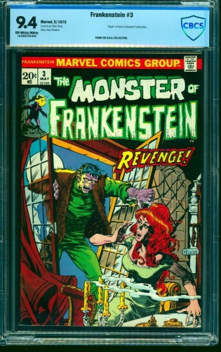 Frankenstein #3 CBCS NM 9.4 Off White to White Marvel Comics