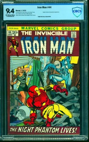 Iron Man #44 CBCS NM 9.4 Off White to White Marvel Comics
