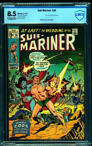 Sub-Mariner #36 CBCS VF+ 8.5 Off White to White Marvel Comics