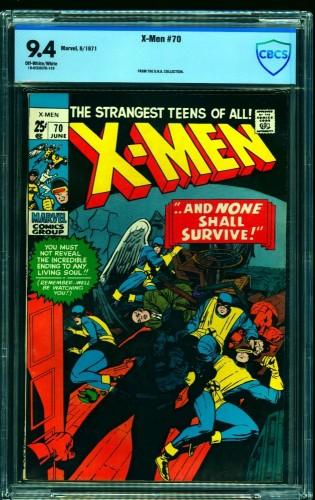 X-Men #70 CBCS NM 9.4 Off White to White Marvel Comics