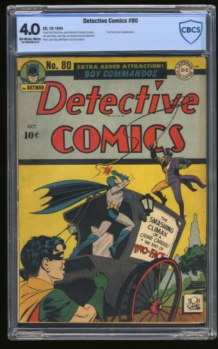 Detective Comics #80 CBCS VG 4.0 Off White to White Two-Face Cover! Batman!