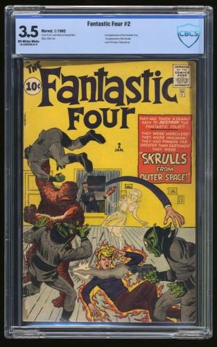 Fantastic Four #2 CBCS VG- 3.5 Off White to White