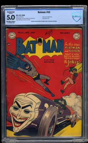 Batman #52 CBCS VG/FN 5.0 Off White to White (Restored) Joker Cover!