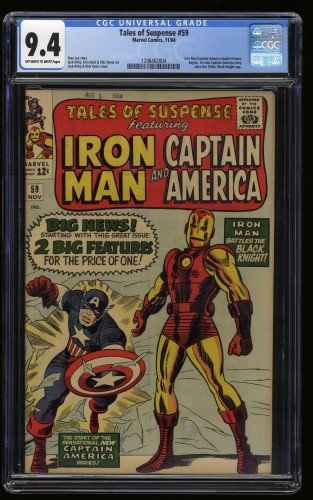 Tales of Suspense #59 CGC NM 9.4 Off White to White Captain America Iron Man!