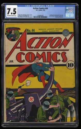 Action Comics #44 CGC VF- 7.5 Classic War Cover Nazis!