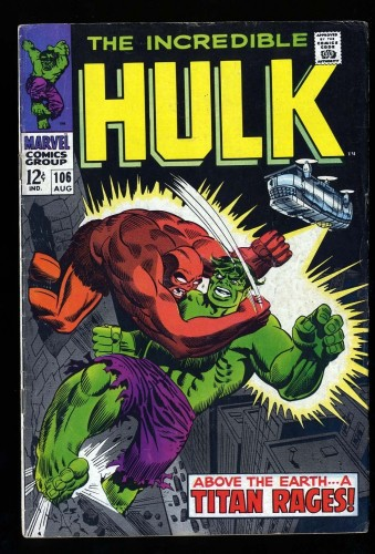 Incredible Hulk #106 VG+ 4.5