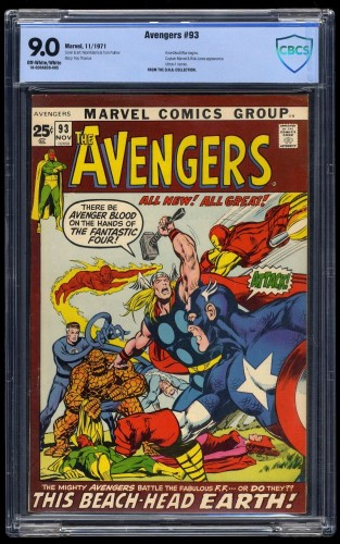 Avengers #93 CBCS VF/NM 9.0 Off-White/White