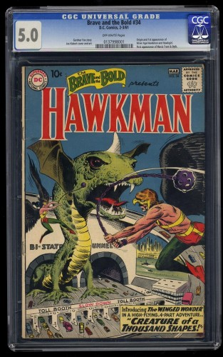 Brave And The Bold #34 CGC VG/FN 5.0 Off White 1st Hawkman