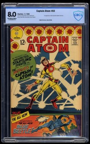 Captain Atom #83 CBCS VF 8.0 Off White to White 1st Blue Beetle!