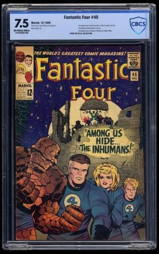 Fantastic Four #45 CBCS VF- 7.5 Off White to White