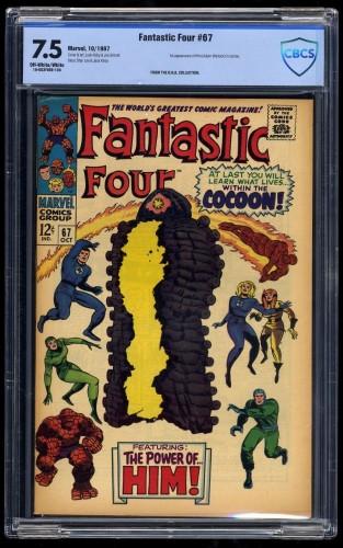 Fantastic Four #67 CBCS VF- 7.5 Off-White/White