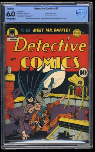 Detective Comics #63 CBCS FN 6.0 Off White to White (Restored)