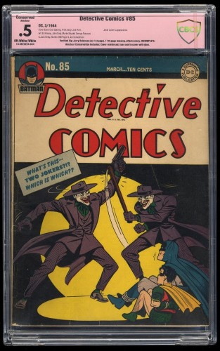 Detective Comics #85 CBCS P 0.5 (Restored) Joker Cover! Jerry Robinson Signature