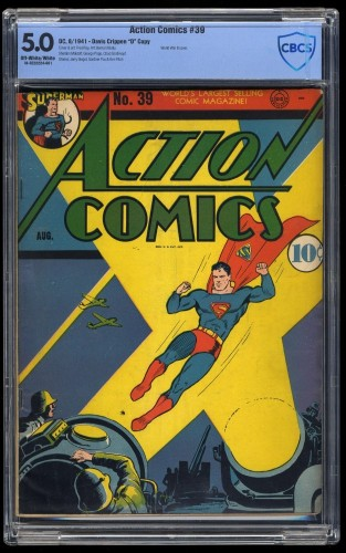 Action Comics #39 CBCS VG/FN 5.0 Davis Crippen Pedigree Copy