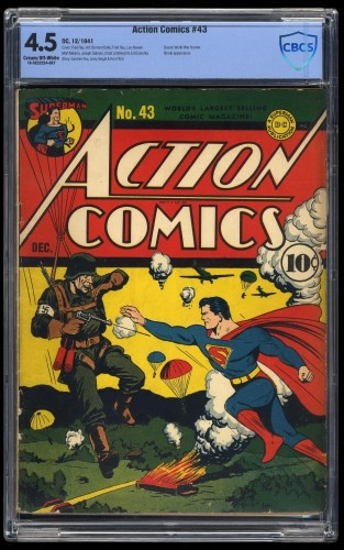 Action Comics #43 CBCS VG+ 4.5 Cream To Off White