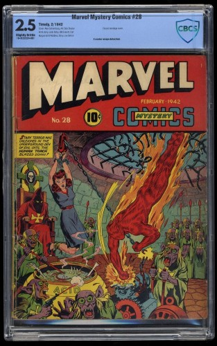 Marvel Mystery Comics #28 CBCS GD+ 2.5 Classic Bondage cover!