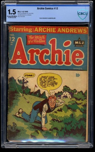Archie Comics #12 CBCS FA/GD 1.5 Cream To Off White