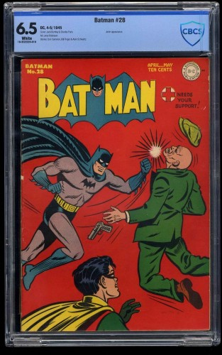 Batman #28 CBCS FN+ 6.5 White Pages Joker Story!
